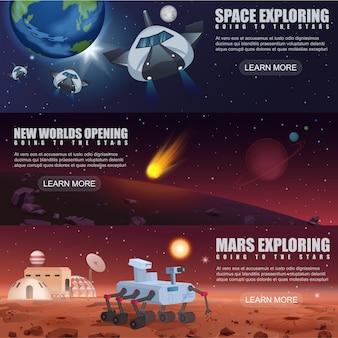 Plantilla de banner de ilustración de exploración de naves espaciales de vuelo espacial, planetas alienígenas en el espacio exterior, rover de la galaxia de marte y colonización.