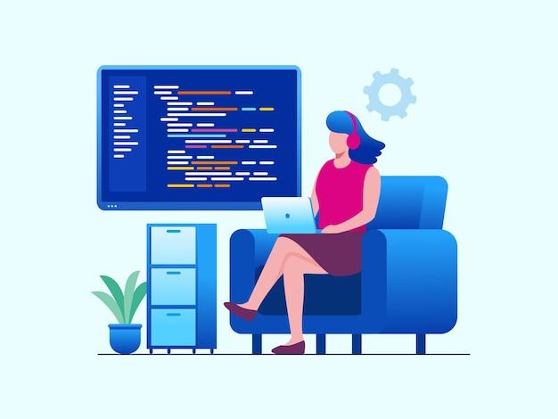 Plantilla de banner de ilustración de vector plano desarrollador de codificación