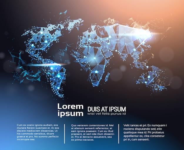 Plantilla de banner de infografía de mapa del mundo poligonal, viajes globales y concepto de conexión internacional