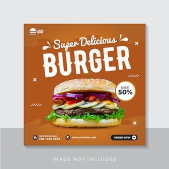 Plantilla de banner de instagram de redes sociales de promoción de menú de hamburguesas