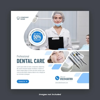 Plantilla de banner de instagram de servicios de atención dental