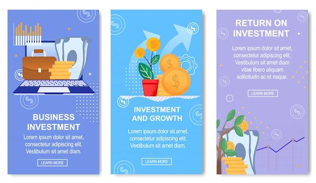 Plantilla de banner de inversión empresarial y crecimiento para redes sociales.