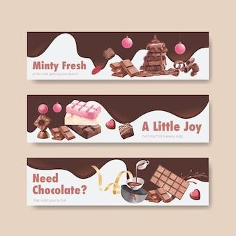 Plantilla de banner con invierno chocolate