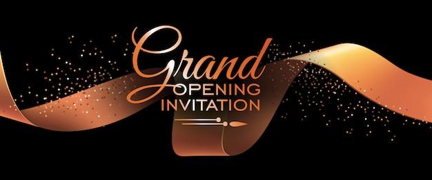 Plantilla de banner de invitación de gran inauguración con cinta dorada