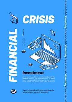 Plantilla de banner isométrico de crisis financiera, caída de ventas