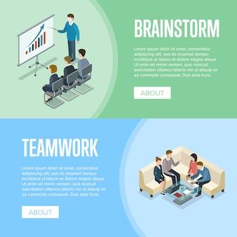 Plantilla de banner isométrico de lluvia de ideas y trabajo en equipo