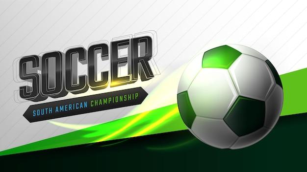 Plantilla de banner de juego de fútbol con fútbol y efecto de luz