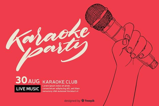 Plantilla banner karaoke estilo plano