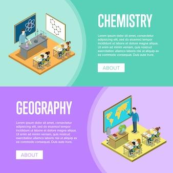 Plantilla de banner de lecciones de geografía y química en la escuela