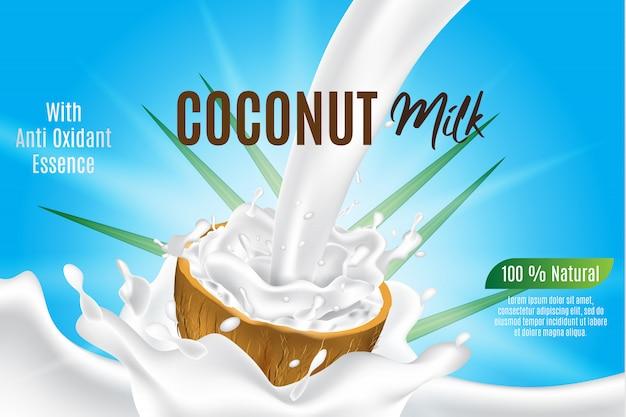 Plantilla de banner, leche de coco para producto y paquete, salpicaduras de coco realista 3d en rodaja de coco