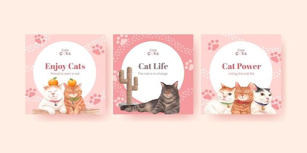 Plantilla de banner con lindo gato en estilo acuarela