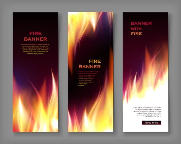 Plantilla de banner de llama de fuego, tamaño vertical