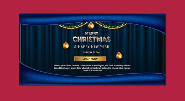 Plantilla de banner de lujo promoción de feliz navidad oferta especial de venta