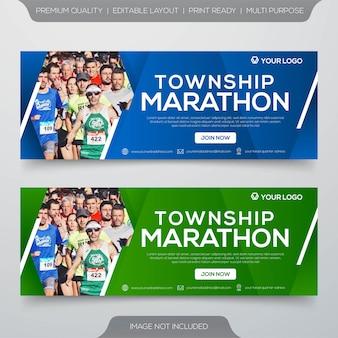 Plantilla de banner de maratón de municipio