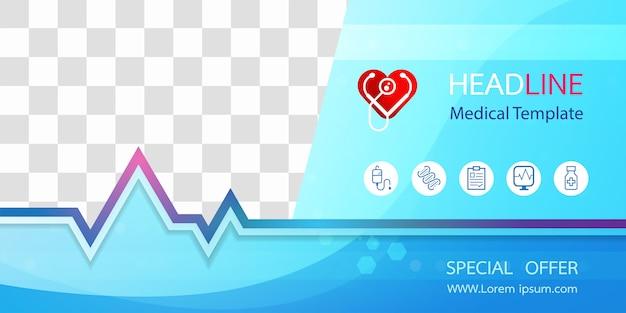 Plantilla de banner médico de icono de ecg y corazón