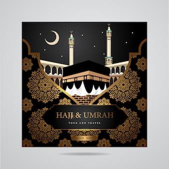 Plantilla de banner de medios sociales hajj y umrah