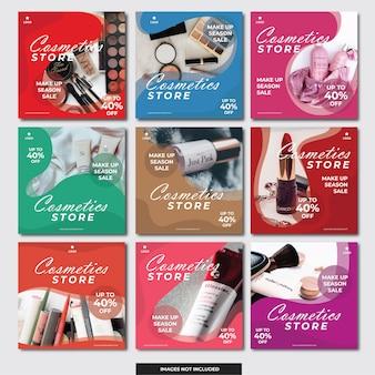 Plantilla de banner de medios sociales tienda de cosméticos