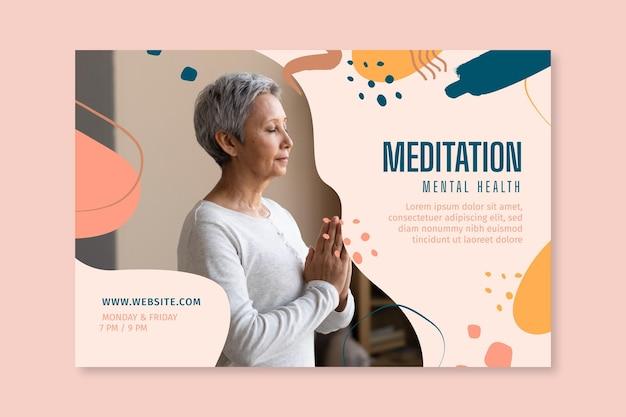 Plantilla de banner de meditación y atención plena