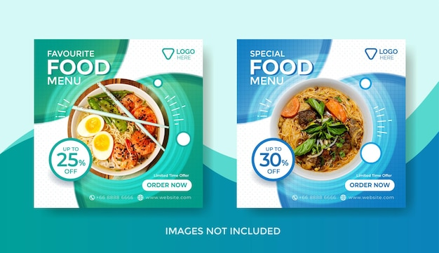 Plantilla de banner de menú de comida o plantilla de publicación de redes sociales o plantilla de banner de menú delicioso