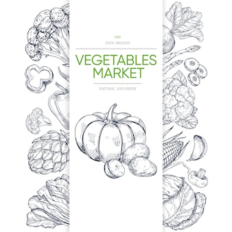 Plantilla de banner de mercados de verduras con dibujado a mano verde