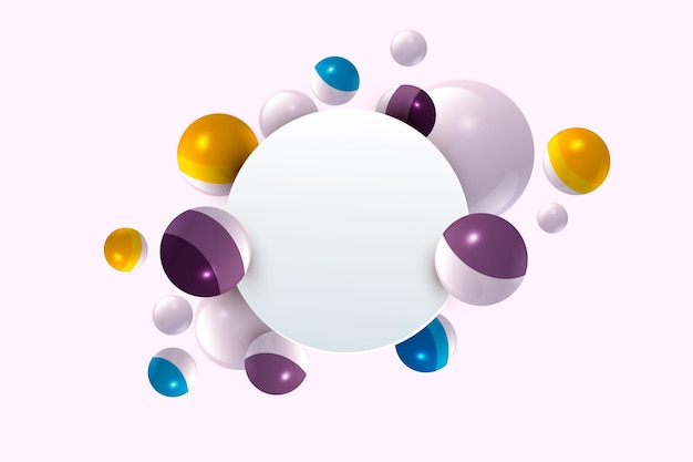 Plantilla de banner moderno con elementos realistas en 3d