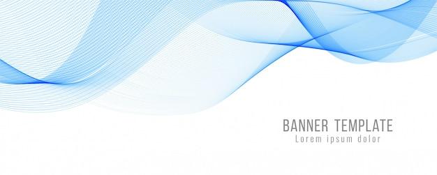 Plantilla de banner moderno onda azul abstracto