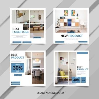 Plantilla de banner de muebles azules modernos