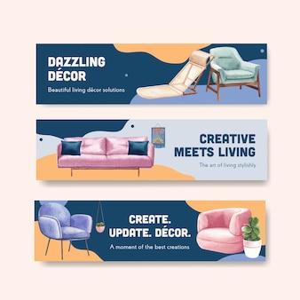 Plantilla de banner con muebles de lujo en estilo acuarela