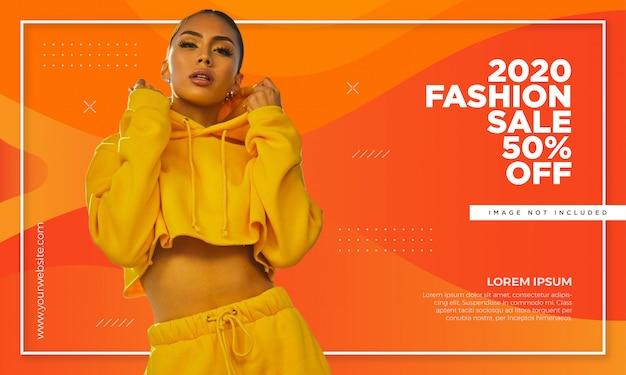 Plantilla de banner naranja de venta de moda