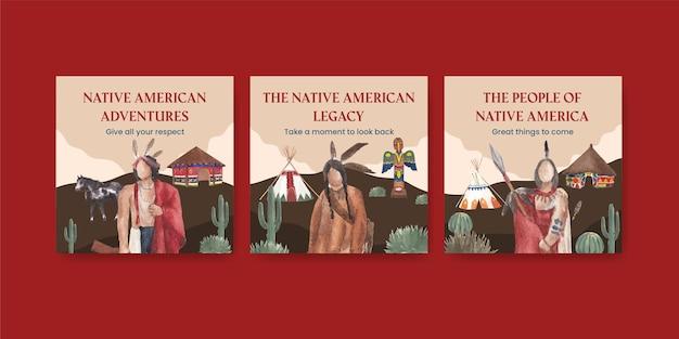 Plantilla de banner con nativos americanos en estilo acuarela