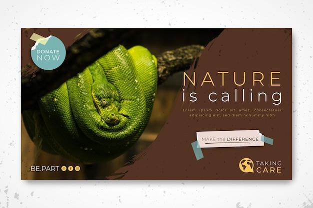 Plantilla de banner de naturaleza salvaje