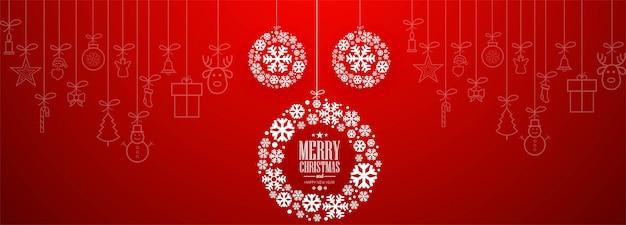 Plantilla de banner de navidad con adornos