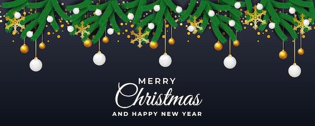 Plantilla de banner de navidad y año nuevo con vector floral