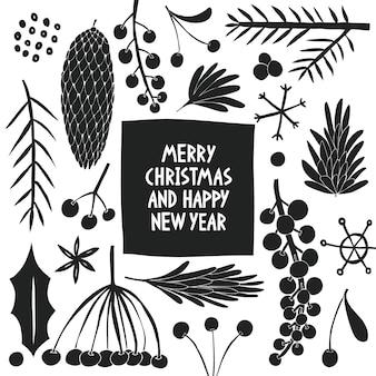 Plantilla de banner de navidad. ilustraciones dibujadas a mano.