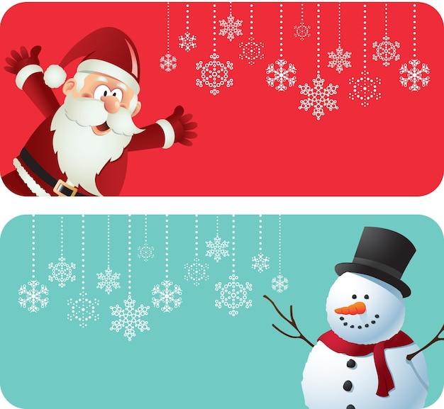 Plantilla de banner de navidad con santa y muñeco de nieve
