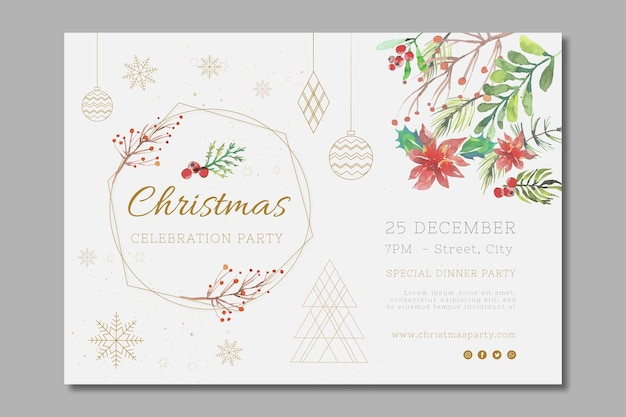 Plantilla de banner navideño festivo