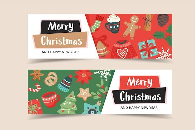 Plantilla de banner navideño con letras y lindos elementos de temporada