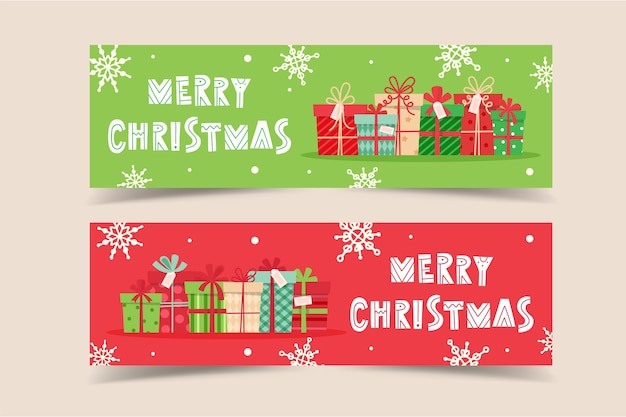 Plantilla de banner navideño con letras y regalos
