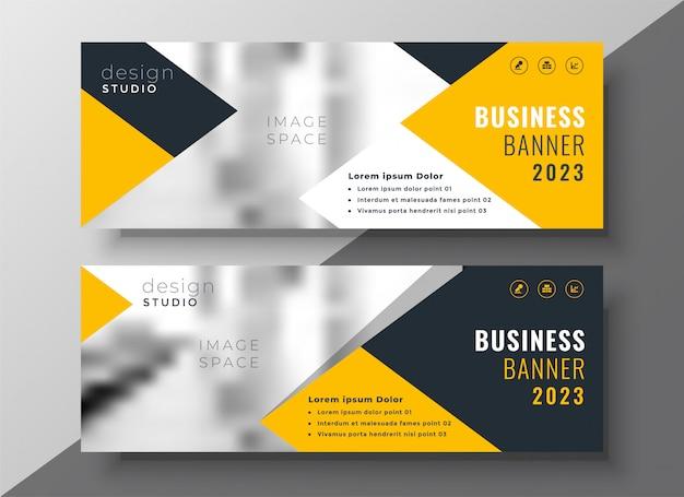 Plantilla de banner de negocios amarillos creativos