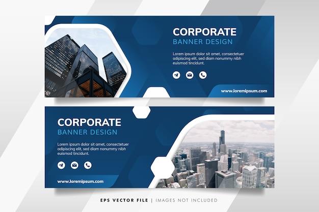 Plantilla de banner de negocios corporativos azul