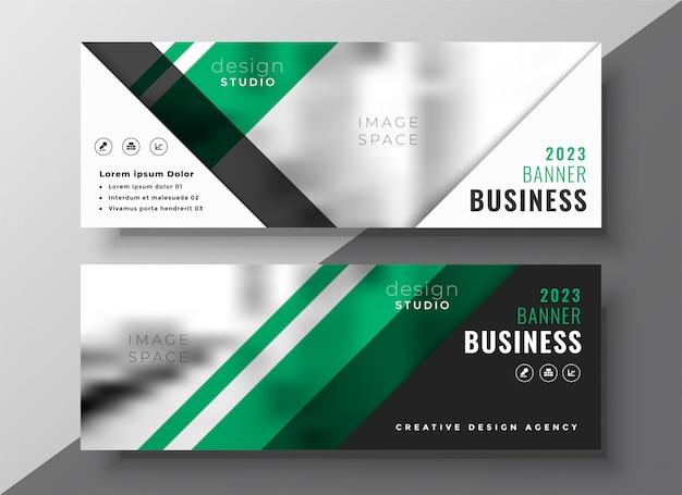Plantilla de banner de negocios geométrica verde profesional