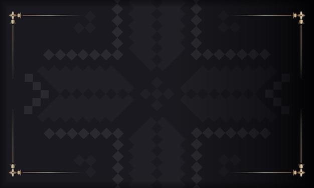 Plantilla de banner negro con adornos eslovenos y lugar para tu logo. diseño de postal con patrones de lujo.