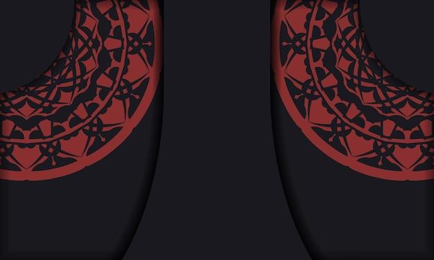Plantilla de banner negro con adornos y lugar para su logotipo y texto. plantilla de fondo de diseño imprimible con patrones vintage.