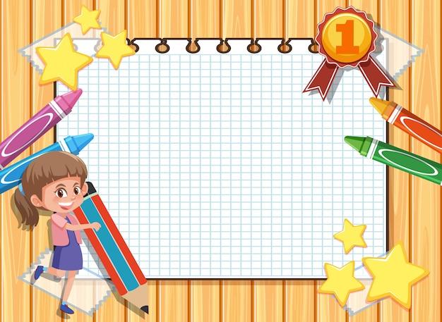 Plantilla de banner con niña feliz y lápices de colores