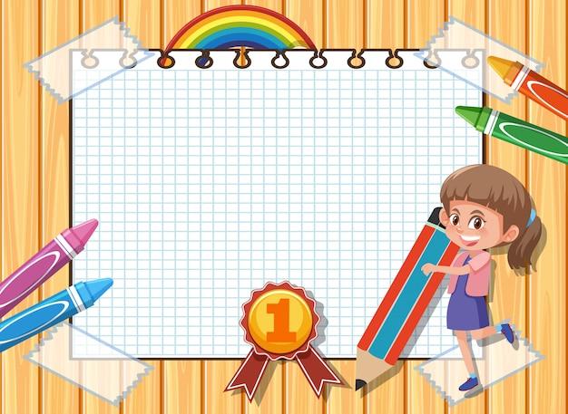 Plantilla de banner con niña y lápices de colores