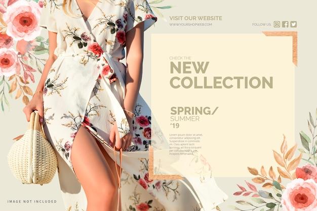 Plantilla de banner de nueva colección floral