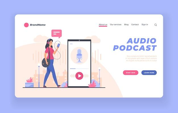Plantilla de banner o póster publicitario de la aplicación de transmisión de podcasts de audio