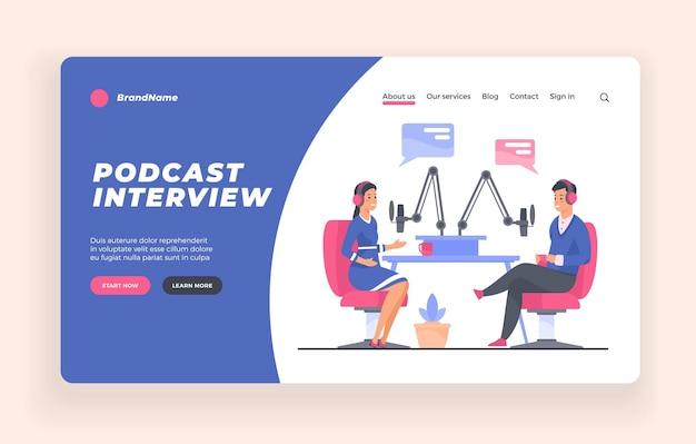 Plantilla de banner o póster publicitario de la entrevista de podcast
