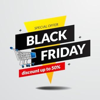 Plantilla de banner de oferta de venta de viernes negro de bandera retro con ilustración de carrito de compras
