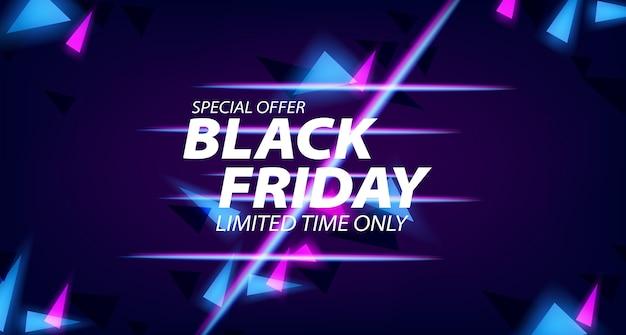 Plantilla de banner de oferta de venta de viernes negro con lámpara de neón brillante